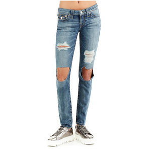 True Religion Women's Skinny Leg Destroyed Jeans